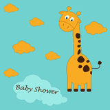 Cute cartoon of a giraffe with stylish text of Baby Shower on blue background pattern baby  background Royalty Free Stock Photography