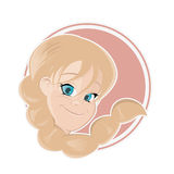 Cute cartoon girl in a badge Royalty Free Stock Images