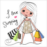 Cute cartoon girl with bags Royalty Free Stock Photo
