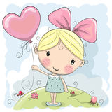 Cute Cartoon Girl. With a balloon on the meadow royalty free illustration