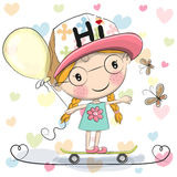 Cute Cartoon Girl with balloon Royalty Free Stock Image