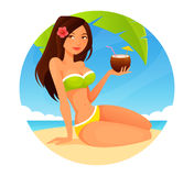Cute cartoon girl on the beach Stock Photography