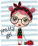 Cute Cartoon Girl with big glasses Royalty Free Stock Images
