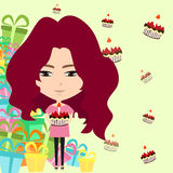 Cute cartoon girl in birthday party background (ve Stock Photography