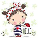 Cute Cartoon Girl. With a bow and ladybug vector illustration