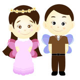 Cute cartoon girl and boy vector Royalty Free Stock Photography
