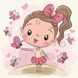 Cute Cartoon Girl with butterflies. On the meadow vector illustration