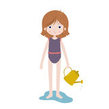 Cute cartoon girl character in swimsuit, playing with watering can on the beach. Royalty Free Stock Image