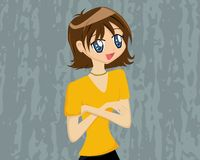 Cute Cartoon Girl with Crossed Royalty Free Stock Photos