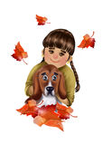 Cute cartoon girl with dog and falling autumn leaves. Illustration on white background Stock Image