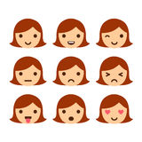 Cute cartoon girl emoticons Royalty Free Stock Images