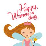 Cute cartoon girl fairy card for womens day. Vector illustration Royalty Free Stock Photography