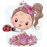 Cartoon Girl with flowerson a white background. Cute Cartoon Girl with flowers on and ladybug a white background vector illustration