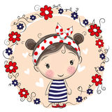 Cute Cartoon Girl and flowers Stock Images