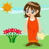 Cute Cartoon Girl in Garden Royalty Free Stock Photography