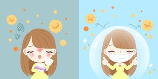 Girl with hay fever. Cute cartoon girl get hay fever and feel uncomfortable stock illustration