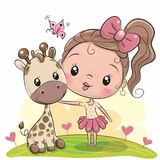 Cute Cartoon Girl with giraffe vector illustration