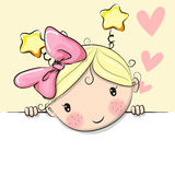 Cute Cartoon Girl with hearts royalty free illustration
