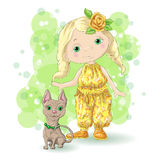 Cute cartoon girl with her pet. Vector illustration Royalty Free Stock Images