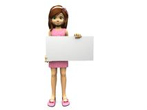 Cute cartoon girl holding blank sign. Stock Images