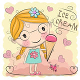 Cute cartoon girl is holding ice cream Stock Image