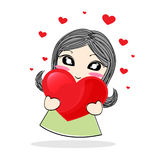 Cute cartoon girl holding a red heart Royalty Free Stock Images