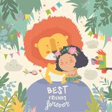 Cute cartoon girl hugging the lion. Best friends vector illustration