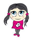 Cute cartoon girl illustration Royalty Free Stock Image