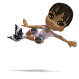 Cute cartoon girl with inline skates Royalty Free Stock Photography