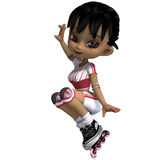 Cute cartoon girl with inline skates. 3D. Rendering with clipping path and shadow over white Stock Image