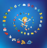 Cute cartoon girl jumping with Internet icons Stock Image