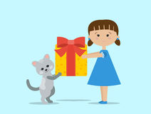 Cute cartoon girl and kitty are holding a present with a bow. Cute cartoon girl and cat are holding a present with a bow. Flat style  illustration for a birthday Royalty Free Stock Images
