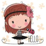 Cute Cartoon Girl with ladybug Stock Images