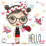 Cute Cartoon Girl with a ladybug. And butterflies royalty free illustration
