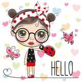 Cute Cartoon Girl with a ladybug Stock Photos