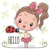 Cute Cartoon Girl with ladybug. On a flowers background background vector illustration