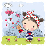 Cute Cartoon Girl with ladybug Royalty Free Stock Photo