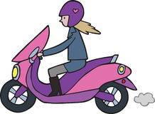 Cute Cartoon girl on Lambretta Moped Motorbike. A cute hand drawn cartoon of a girl on a pink and purple moped motorbike Royalty Free Stock Image