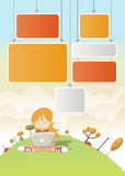 Cute cartoon girl with laptop Stock Photos