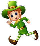 Cute cartoon girl Leprechaun running Royalty Free Stock Images