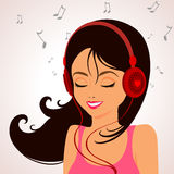 Girl music. Cute cartoon girl listening to music on headphones Royalty Free Stock Photo