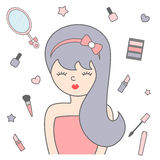 Cute cartoon girl and make up illustration Royalty Free Stock Photos