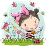 Cute Cartoon Girl on a meadow vector illustration