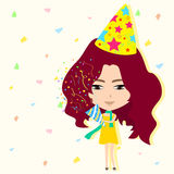 Cute cartoon girl in new year party background (ve Royalty Free Stock Images