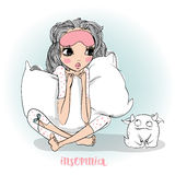 Cute cartoon girl with pillow. Cute cartoon girl in pajamas with pillow Royalty Free Stock Photos