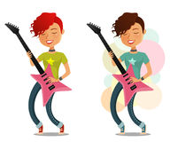 Cute cartoon girl playing guitar Stock Photos