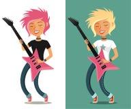 Cute cartoon girl playing guitar Stock Images