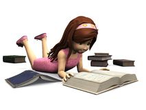 Cute cartoon girl reading book. Stock Images