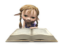 Cute cartoon girl reading book. Stock Photo
