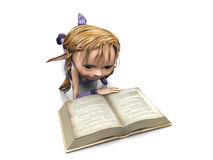Cute cartoon girl reading book. Stock Image